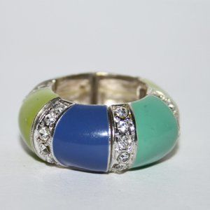 Beautiful colorful ring with cz adjustable